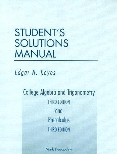 Isbn 9780201788662 College Algebra And Trigonometry Third Edition