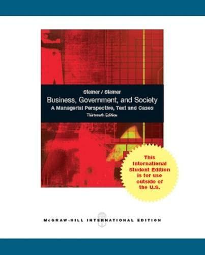 business and society 13th edition His articles has been published in numerous academic journals and is the  coauthor of the 13th edition of business and society: stakeholders, ethics, public .
